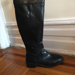 Over the knee (OTK) Zara faux leather flat boots